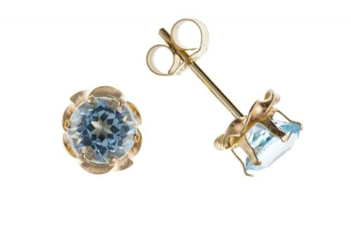 9 Carat Yellow Gold Blue Topaz Stud Earrings AP0392